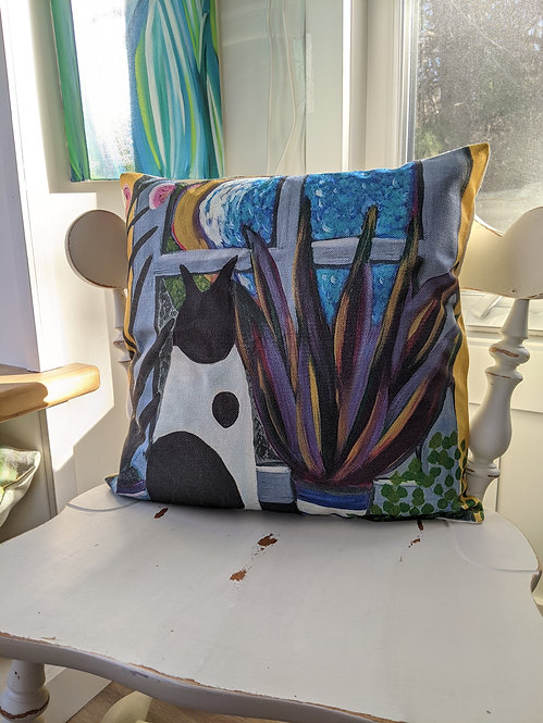 Cat with a view Cushion Cover