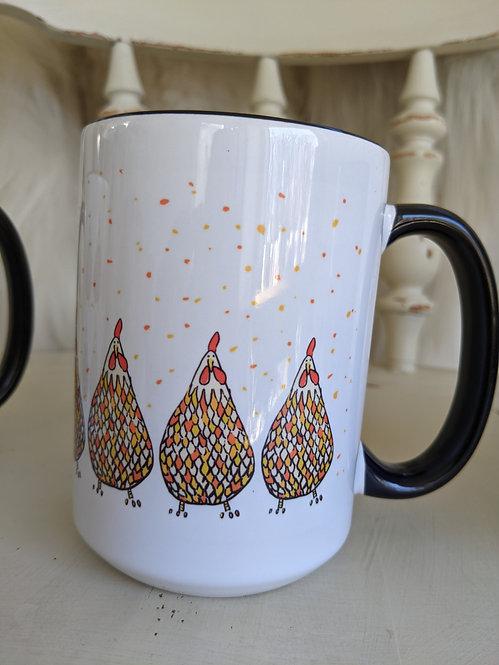 15 oz Happy  chickens mug *Add on item