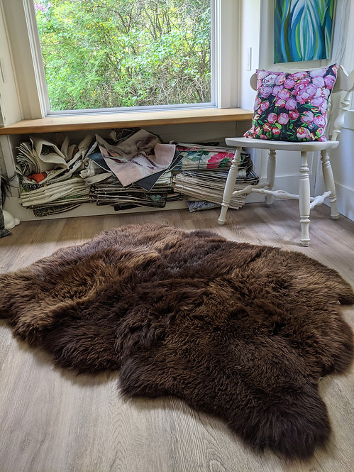 Triple natural brown British sheepskin area rug