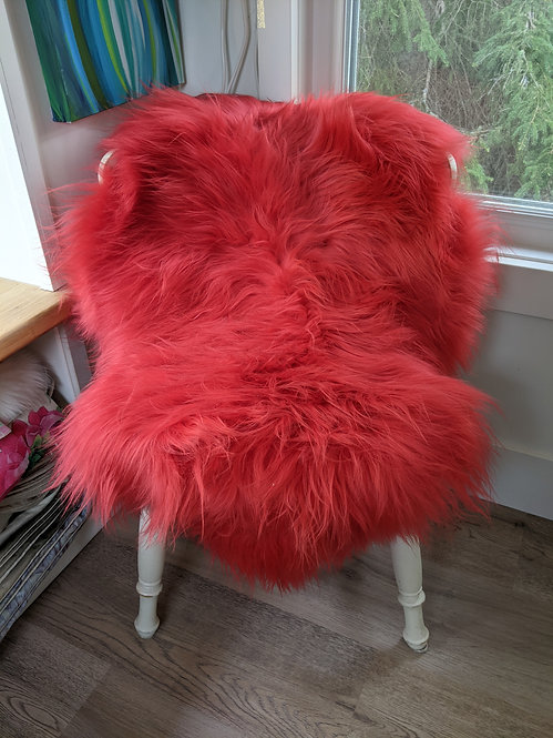Special! Two 'Coral' dyed Icelandic Sheepskins.