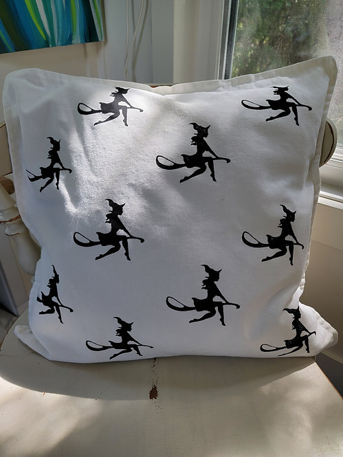 Witch on broomstick block print cushion cover
