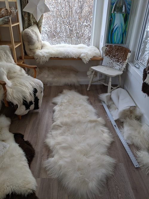 *SPECIAL* Natural White double Icelandic sheepskin area rug