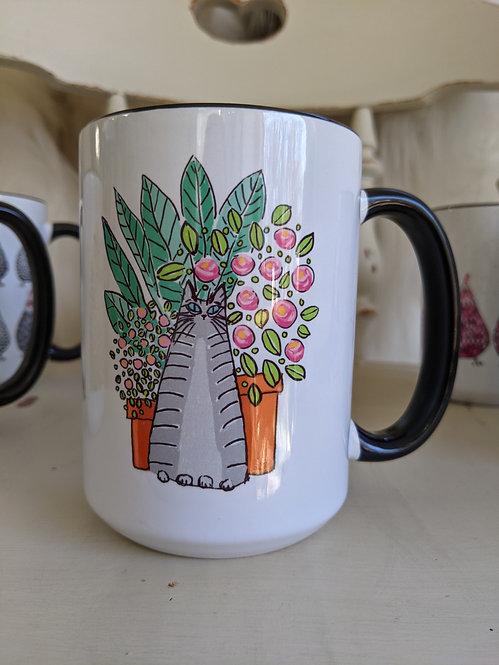 15 oz Cats & plant pots mug *Add on item