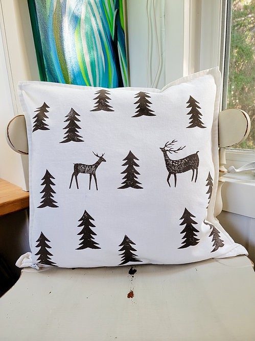Canadian Forest block print cushion cover
