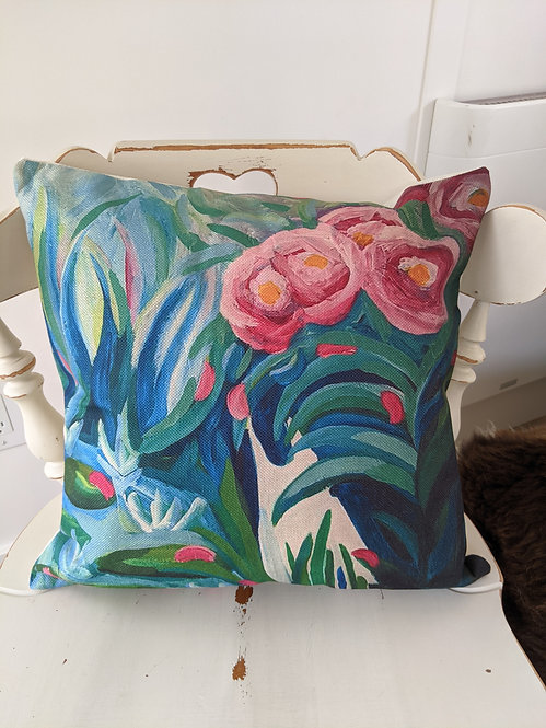 White cat and the Lilly pads  Cushion Cover
