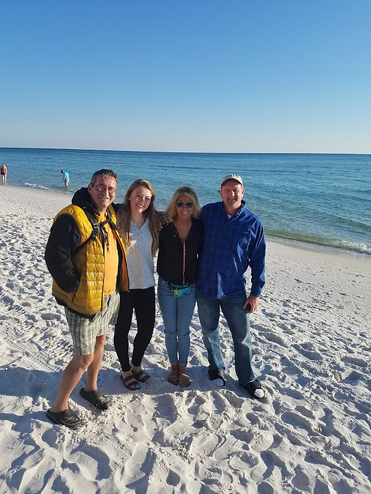 Jim Daryl and our daughters at the beach