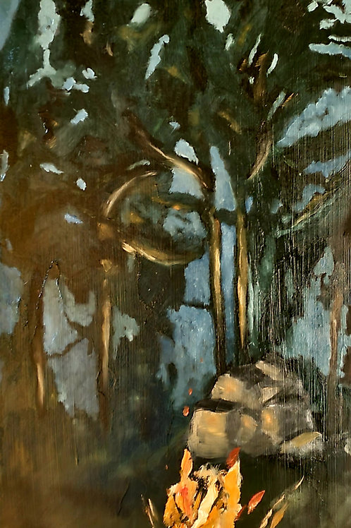 """""""In the Valley of the Gun"""" 11""""x25"""" oil on ponderosa pine. 2021."""