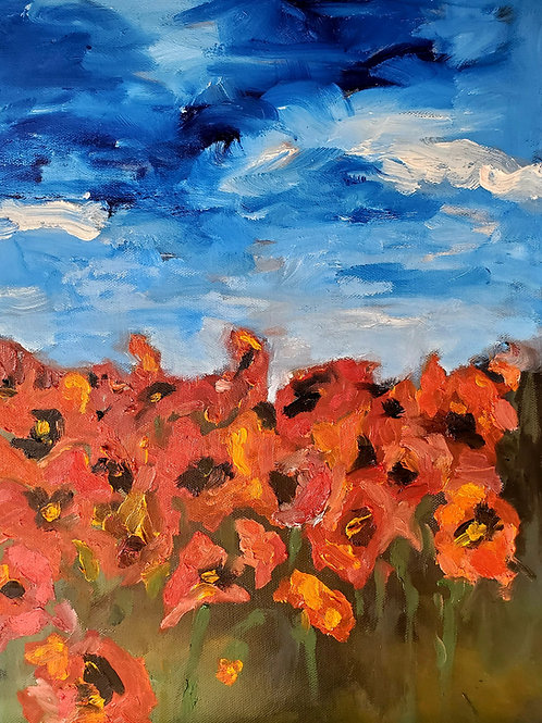 "12""x16"" Poppies. Oil on Canvas. 2021."