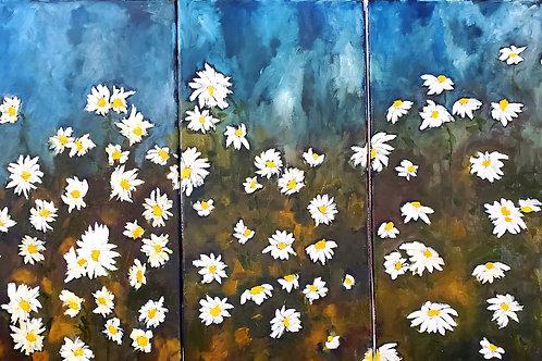 """""""Dear Diary,"""" Triptych 3@10""""x20"""". Oil on Canvas. 2021."""