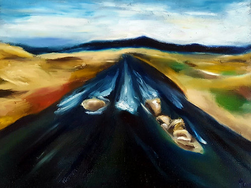 """24"""" x 18"""" """"Distant Valley"""" oil bar on canvas. 2018."""