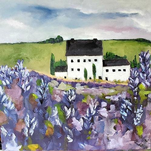 Lavender Field, Cotswold UK. 2021.  Oil on Wood Panel.