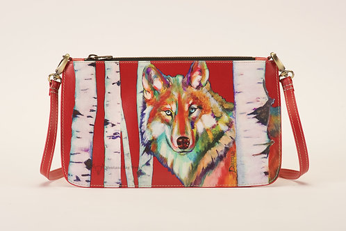 Grey Wolf in Cadmium Red Small Pochette