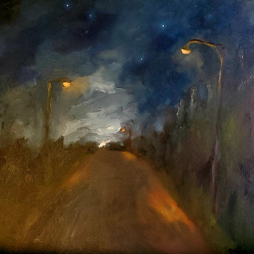 """Rising Moon"" Oil on Ponderosa Pine. 11""x11"". 2021"