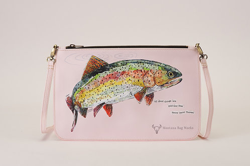Montana Bag Works Rainbow Trout In Puff Pink Large Pochette Clutch
