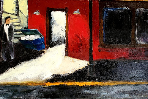 """""""The Nightclub Jitters"""" 10""""x20"""" oil on canvas. 2021."""