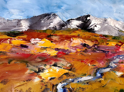"""Tundra Spring. Palette Knife on Canvas. 20""""x18"""". 2021."""
