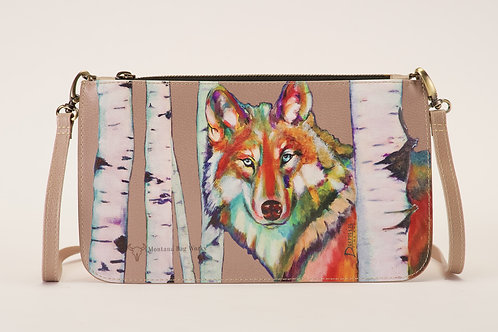 Grey Wolf in Clay Taupe Large Pochette
