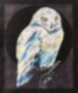 textile painting, textile art, power animals, animal art, tekstiilimaalaus, tekstiilitaide, eläintaide, voimaeläin, snowy owl, tunturipöllö