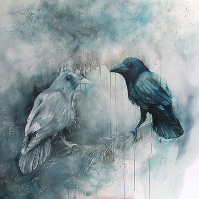 raven, ravens, birds, korppi,animal art, painting, art, contemporary painting, interior, eläintaide, maalaus, sisustus