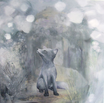 arctic fox, arctic fox puppy, painting, art, animal art, naali, taide, maalaus, eläintaide