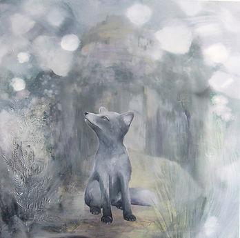 arctic fox, arctic fox puppy, painting, art, animal art, naali, taide, maalaus, eläintaide