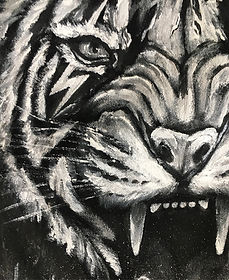 textile painting, textile art, power animals, animal art, tekstiilimaalaus, tekstiilitaide, eläintaide, voimaeläin, tiger, tiikeri