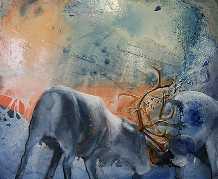 reindeer, reindeers, fight, art, painting, lapland, oil color, poro, porot, taide, maalaus, lappi