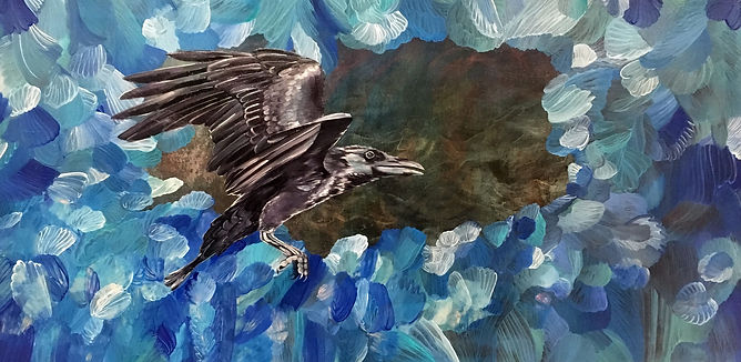 raven, art, painting, bird, surreal, korppi, maalaus, taide