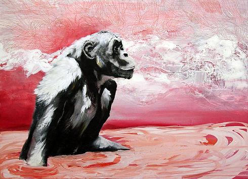 bonobo, monkey, water, art, painting, taide, maalaus