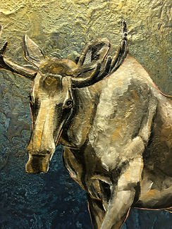 painting, animal art, moose, light, spirit animal, voimaeläin, hirvi, maalaus, taide, eläintaide
