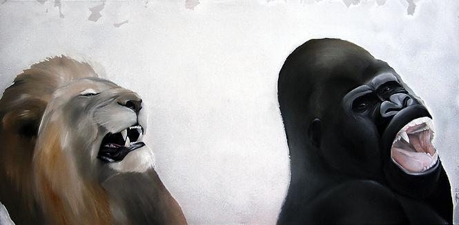 lion, gorilla, animal, fight, art, painting, leijona, gorilla, maalaus, taide