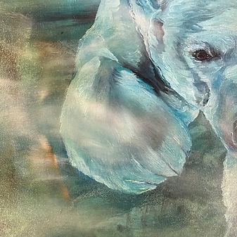 Detail, polar bear, painting, underwater, jääkarhu, maalaus