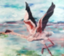 flamingo, birdpainting, art, painting