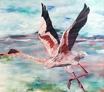flamingo, birdpainting, art, painting