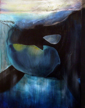 whale, killer whale, art, painting, underwater, animal art, miekkavalas, taide, maalaus