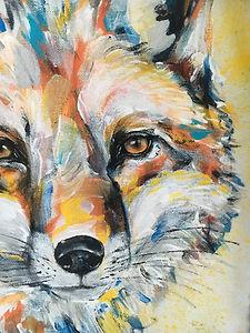 textile painting, textile art, power animals, animal art, tekstiilimaalaus, tekstiilitaide, eläintaide, voimaeläin, fox, kettu