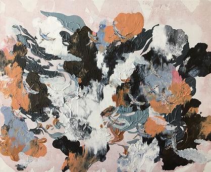 painting, cranes, birds, abstract, art, animal art, kurjet, maalaus