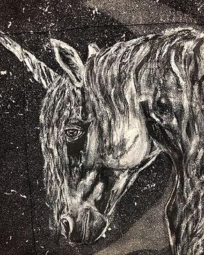 textile painting, textile art, power animals, animal art, tekstiilimaalaus, tekstiilitaide, eläintaide, voimaeläin, unicorn