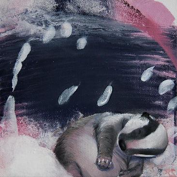 badger baby, animal art, baby, painting, interior, mäyrä, pentu, taide, sisustus