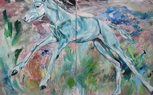 foal, horse, art, painting, colorful, contemporary art, varsa, taide, eläintaide, maalaus, nykytaide