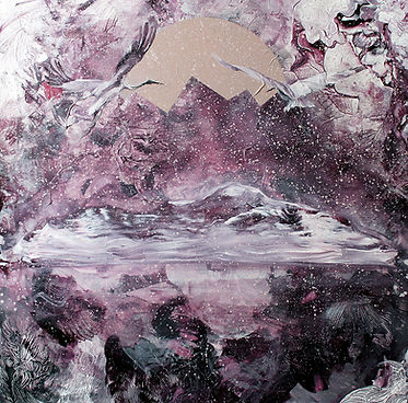 cranes, flying, mountain, art, interior, illustration, kurjet, taide, sisustus