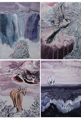 little paintings, painting, animal art, childrens room art, acrylic on canvas, fox, polar bear, bird, snow monkey, purple, maalaus, eläintaide, kettu, pyrstötiainen, jääkarhu, lastenhuoneen taide, lumiapina, lumi