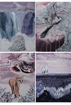 miniature paintings, animal art, acrylic paint, children's room art, art, interior, lastenhuoneen taide, sisustus, eläintaide, maalaus
