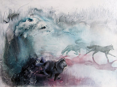 Wolf, wolves, pack, forest, art, painting, animal art, power animal, susi, sudet, susilauma, taide, maalaus, voimaeläin
