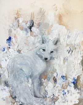 arctic fox, animal art, painting, art, oil colors, naali, kettu, maalaus,eläintaide