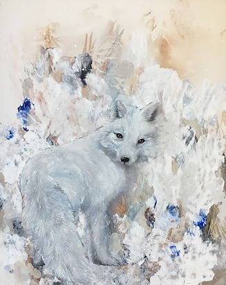 arctic fox, animal art, painting, art, oil colors, naali, kettu, maalaus,eläintaide