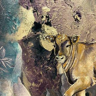 Cow, baby cow, painting, animal art, vasikka, taide, maalaus, eläin, lehmä