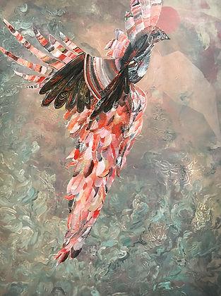 phoenix bird, fenix, painting, animal art, feenix, taide, nykytaide, maalaus