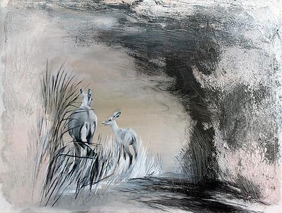antelope, baby antelope, animal, animal art, painting, art, fine art, antilooppi, koulutie, taide, lapset