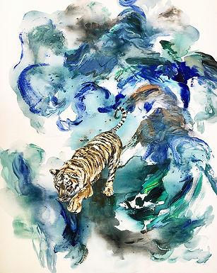 Tiger, landscape, art, animal art, painting, tiikeri, taide, maalaus, nykytaide